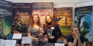 Les auteurs des éditions du Héron d'Argent: Vanessa et Diana Callico, ainsi que Luc Van Lerberghe